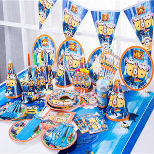 Cartoon Minion Theme Party Supplies Decorations Kids Disposable Tableware Set Napkins Plate Gift Bag Birthday Party Baby Shower
