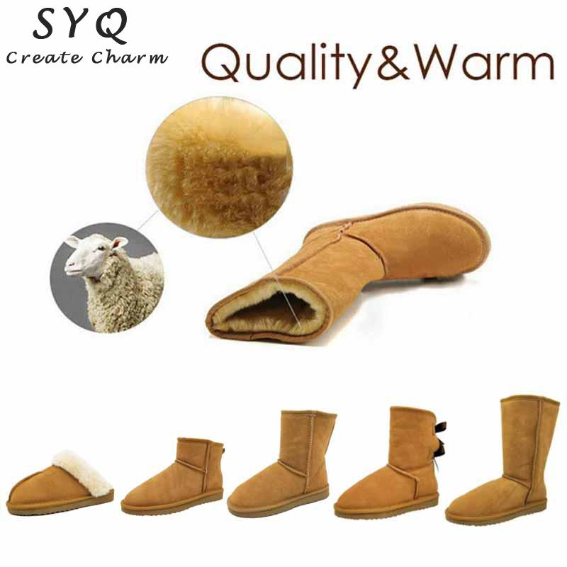 SYQ Brands Classic Cowhide Snow Boots 100% Genuine Leather Women Boots Warm Winter Shoes ankle boots for women Large Size 34-44 image