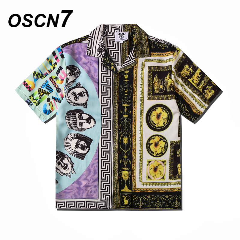 OSCN7 Casual Street Printed Short Sleeve Shirt Men 2020 Hawaii Beach Oversize Women Fashion Harujuku Shirts For Men CSD03