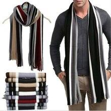 Зимний дизайнерский шарф мужской полосатый хлопковый шарф мужской бренд Шаль Обертывание вязаный кашемировый шарф с кисточками