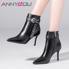 ANNYMOLI Winter Ankle Boots Women Natural Genuine Leather Zip Thin Heel Short Boots Buckle Extreme High Heel Shoes Ladies Autumn цена