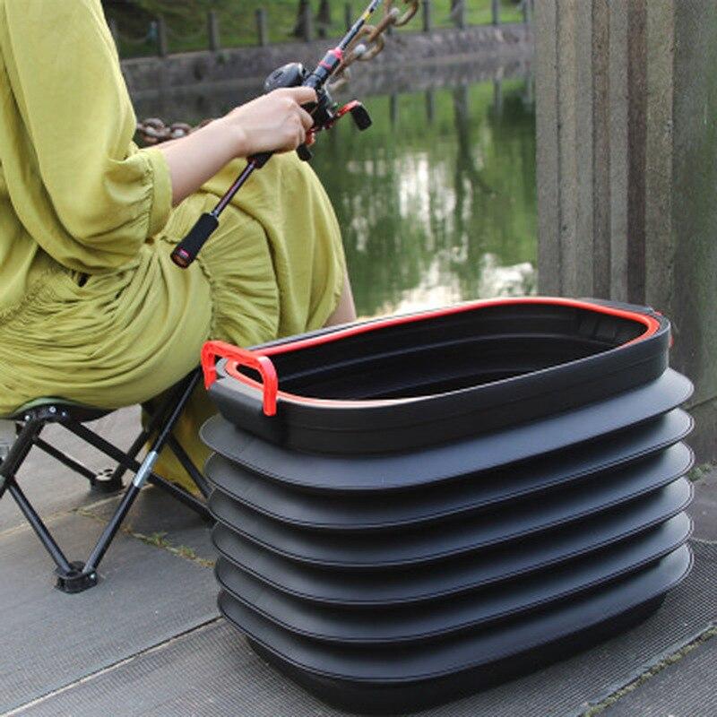 Cubo plegable portátil para exteriores, cubo de agua para lavado de coche y pesca, Cubo de plástico, cubo de basura plegable para coche, suministros de Camping