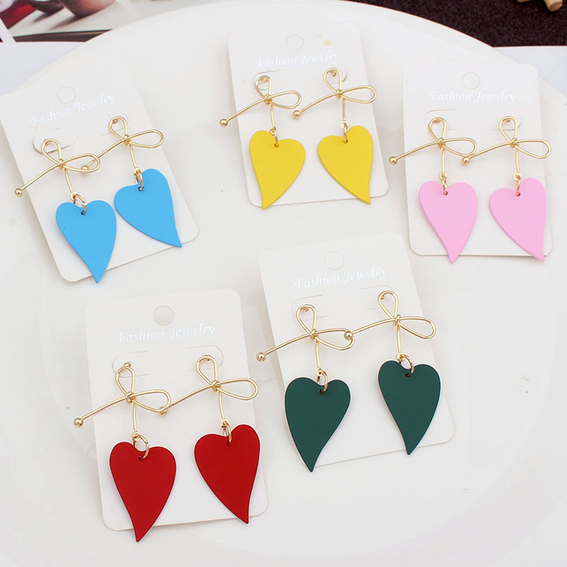 ES524 Fashion Metal Bow Heart Drop Earrings For Women Red Pink Heart Hanging Dangle Earrings Girls Gift Popular Female Jewelry
