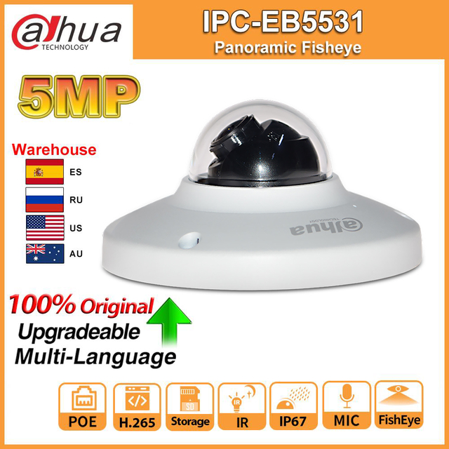 Original Dahua IPC EB5531 5MP IPC Panoramic Fisheye IP camera POE Built in Mic SD Card Slot H.265 Smart Detect Onvif IP67
