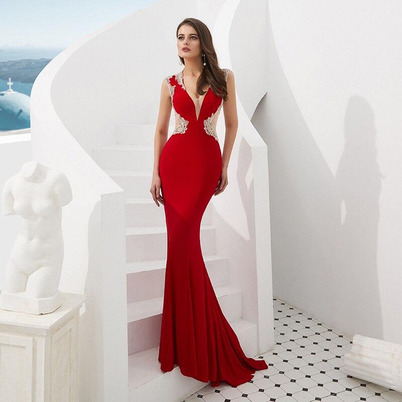 2019 Sexy Red   Prom     Dress   Mermaid V Neckline Crystal Beaded Floor Length Long Women Party   Dresses   Luxury