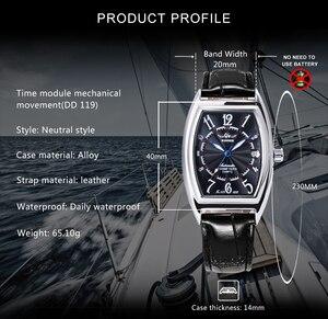 Image 3 - זוכה הרשמי מכאני שעון חבית כיכר לבן שחור לוח שנה רצועת עור יוניסקס כל משחק קלאסי עסקים מקרית שמלה