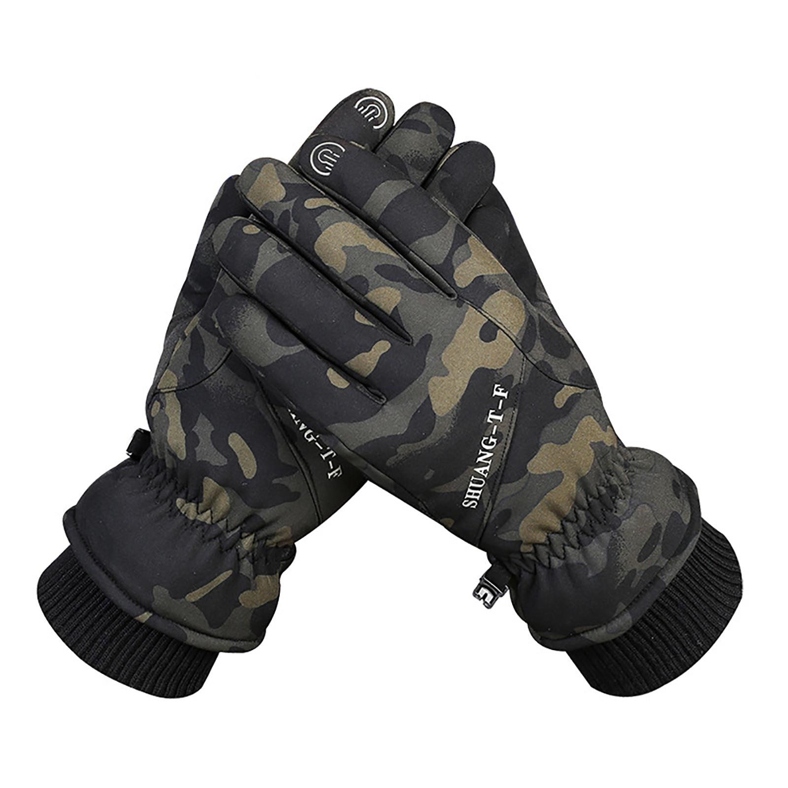 Мужские и женские водонепроницаемые перчатки для сенсорных экранов на весну и зиму, бархатные теплые ветрозащитные модные уличные Несколь...