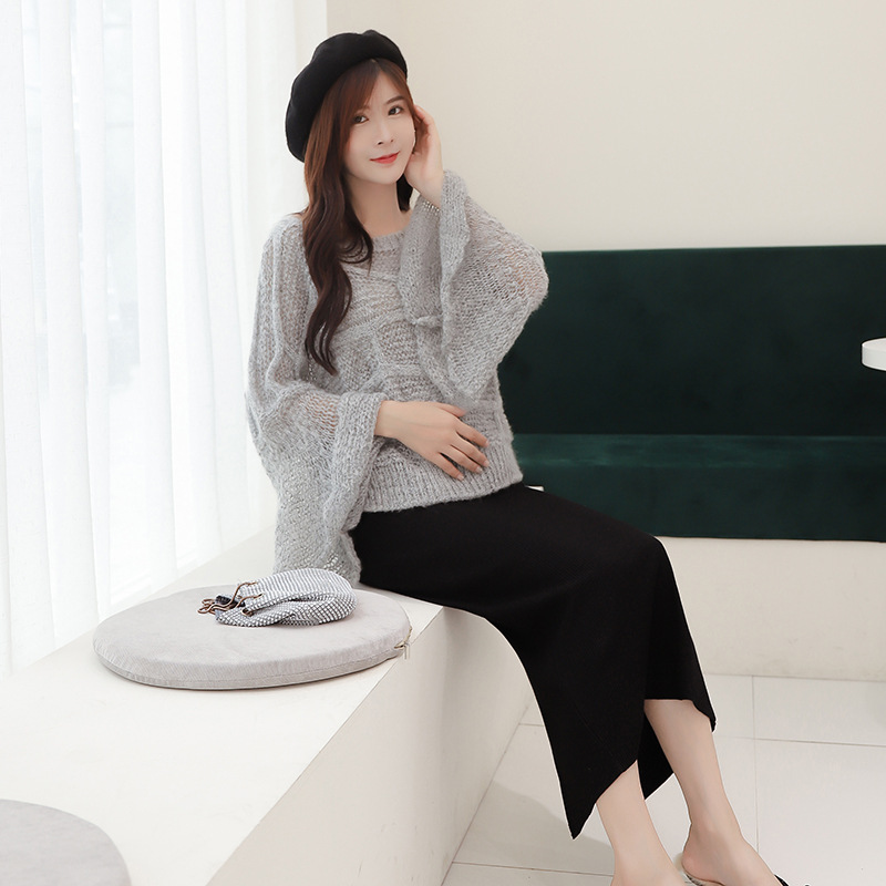 Maternity Clothes Autumn Low-Rise Maternity Clothes Skirt Mid-length Fashion Mom Versatile Knit Slit Skirt