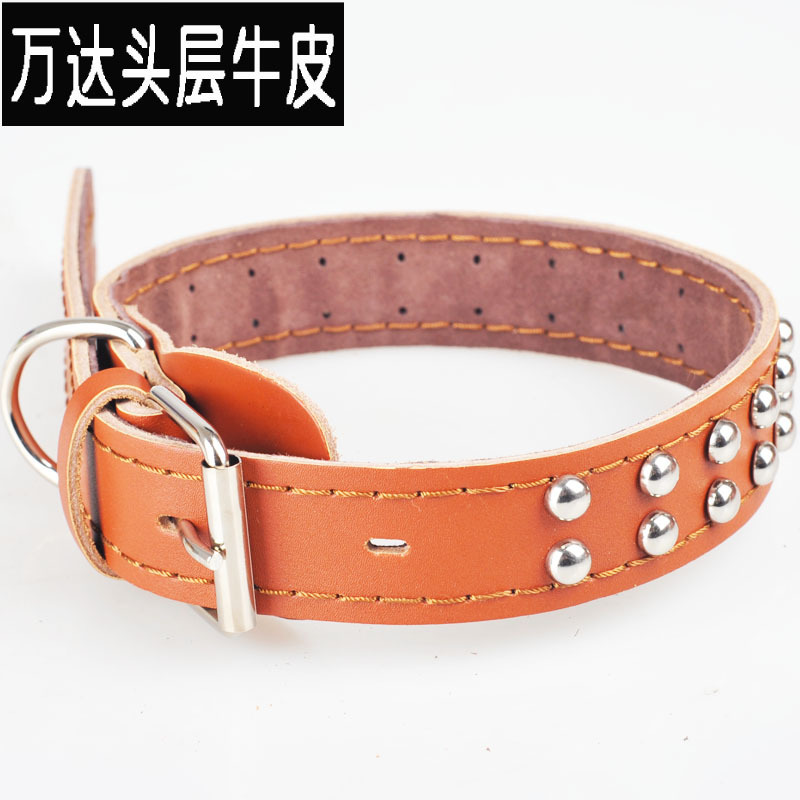 Cow Leather Collar Genuine Leather Pet Collar Cattle Hide Single \ Double Row Rivets Dog Neck Ring