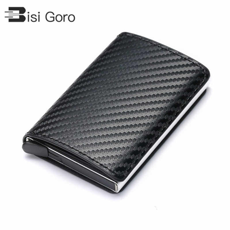 BISI GORO 2019 Business ID Credit Card Holder Men and Women Metal RFID Vintage Aluminium Box PU Leather Card Wallet Note Carbon