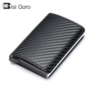 BISI GORO 2020 Business ID Credit Card Holder Men and Women Metal RFID Vintage Aluminium Box PU Leather Card Wallet Note Carbon(China)