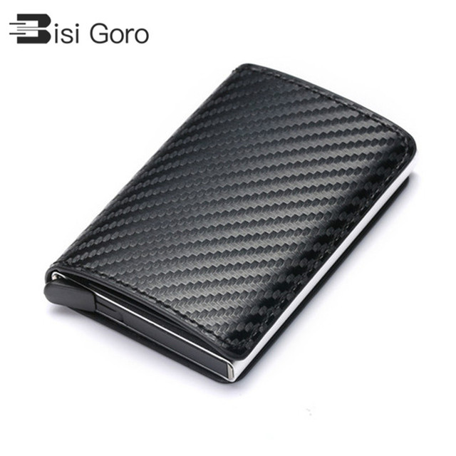 BISI GORO 2020 Business ID Credit Card Holder Men and Women Metal RFID Vintage Aluminium Box PU Leather Card Wallet Note Carbon
