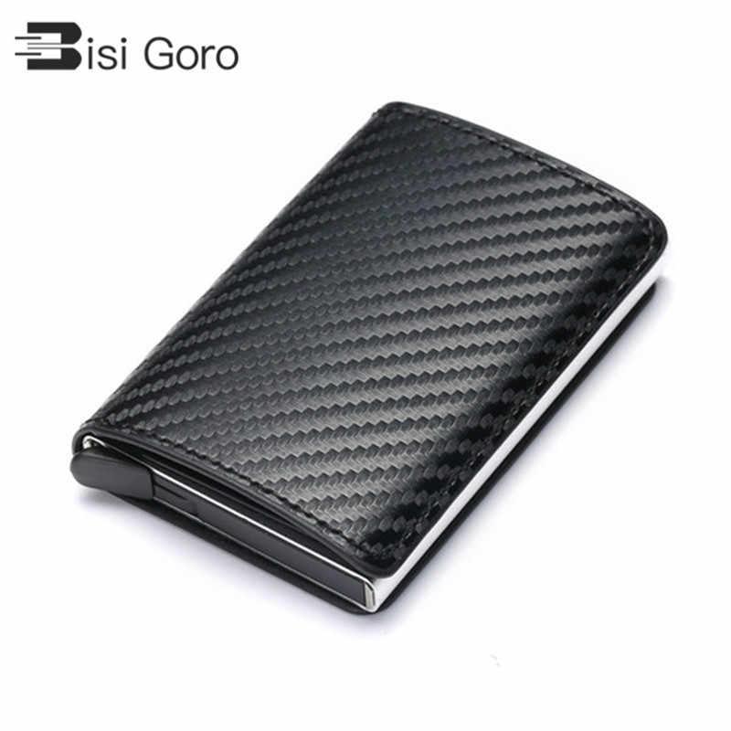 BISI GORO 2020 Business ID Kreditkarte Halter Männer und Frauen Metall RFID Vintage Aluminium Box PU Leder Karte Brieftasche hinweis Carbon