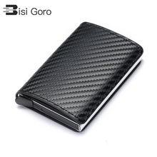 BISI GORO 2021 Business ID Kreditkarte Halter Männer und Frauen Metall RFID Vintage Aluminium Box PU Leder Karte Brieftasche hinweis Carbon