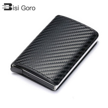 BISI GORO 2021 Business ID Credit Card Holder Men and Women Metal RFID Vintage Aluminium Box PU Leather Card Wallet Note Carbon
