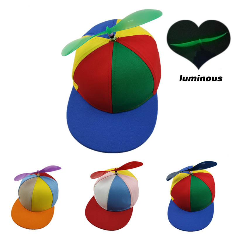 Funny Helicopter Propeller Baseball Caps Colorful Patchwork Cap Sun Children Boys Girls Snapback Hat
