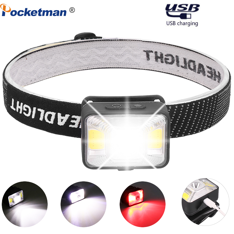 Headlight Rechargeable Headlamp Ultra Bright 5000 Lumens LED Head Lamp Flashlight White/Red Light Great For Camping,fishing