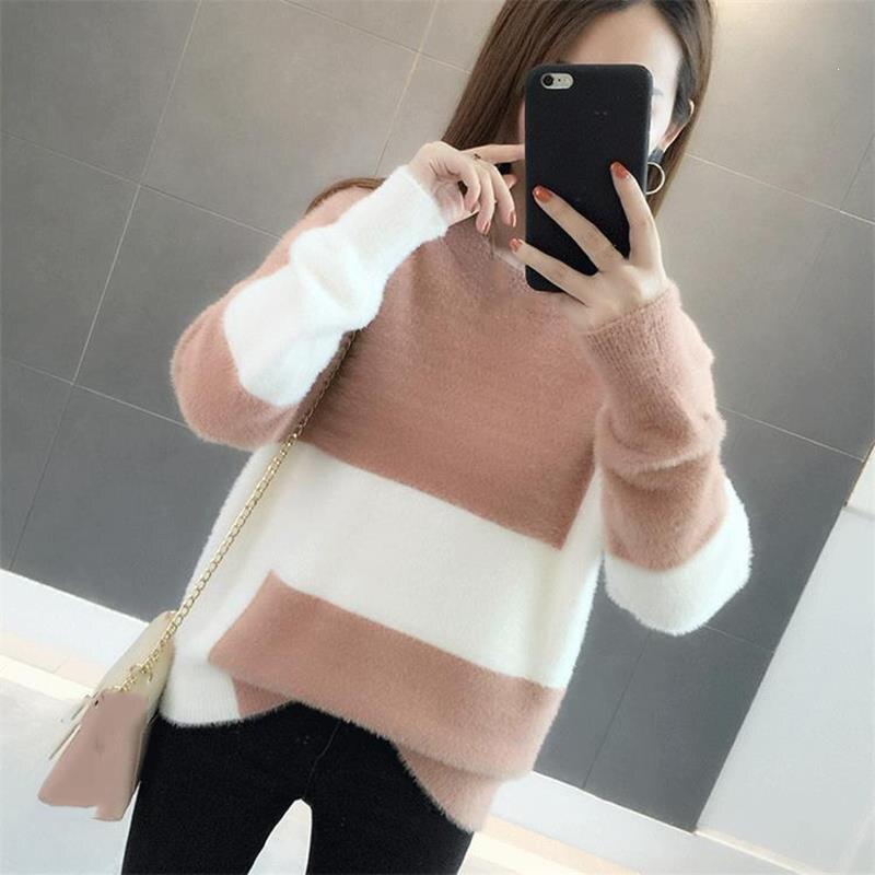 Зимний новый пуловер с круглым вырезом, свитер для женщин, Простой повседневный свободный свитер, Модный женский лоскутный свитер с длинным