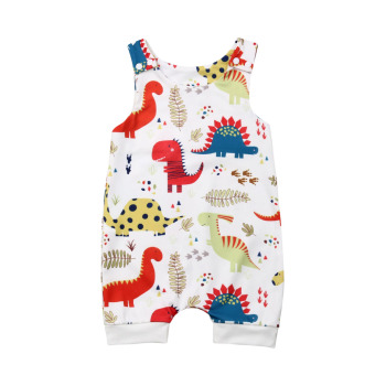 Newborn Baby Boy Girl Clothes Cute Dinosaurs Print Sleeveless Romper Jumpsuit One-Piece Outfit Sunsuit emmababy summer newborn baby girl clothes sleeveless striped bowknot strap romper jumpsuit one piece outfit sunsuit clothes