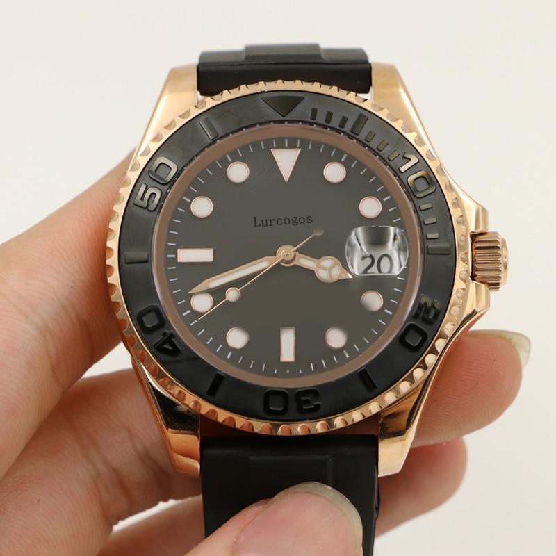 2019 noir caoutchouc Oysterflex bracelet yacht céramique lunette maître hommes or Rose luxe montre automatique Reloj maître montres Wa