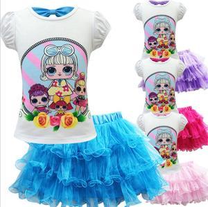 Детские комплекты из футболки и платья; Платье принцессы из сетчатой ткани для маленьких детей; Костюм для дня рождения; Подарок; Одежда для ...