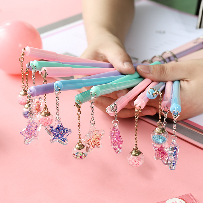32 Pcs/Lot Crystal Ball Pen Mini Wish Star Pendant Black Color Pen Writing Cute Stationery Gift Office School Supplies A6791