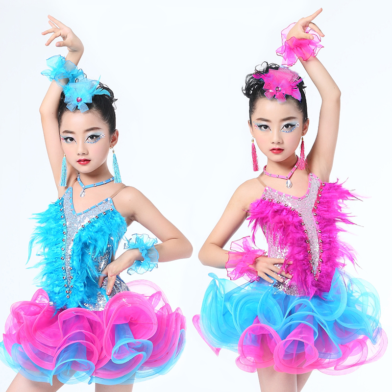 Feather Sequin Modern Latin Dance Dress For Girls Ballroom Samba Rumba Competition Children Kids Dancing Practice Salsa Tango
