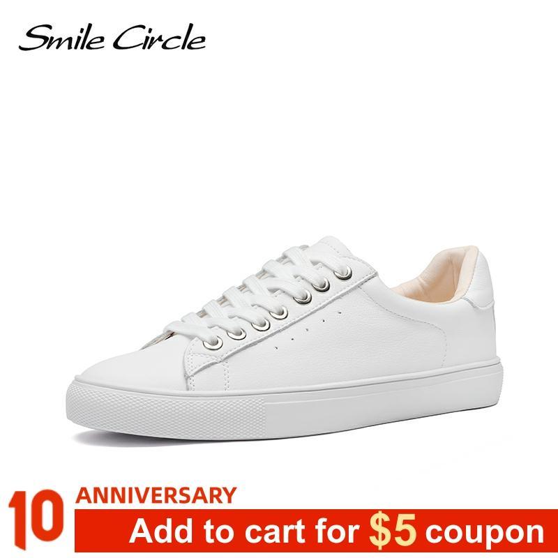 Smile Circle White Sneakers Women Genuine Leather Low-Heel Flat Platform Ladies Lace-Up Fashion White Shoes Women Size 36-42