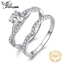 JewelryPalace Infinity Engagement Ring Set 925 Sterling Silver Rings for Women Wedding Band Bridal Sets Jewelry