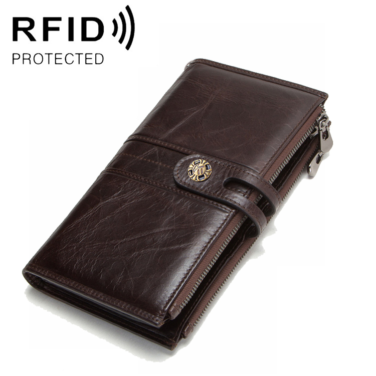 RFID Men's Wallet Dual Zippers Leather Wallet Long Hasp Porte Feuille Homme Luxury Mens Wallet Leather Genuine Purses Clutch Bag