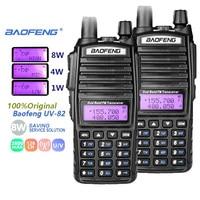 מכשיר הקשר dual band 2pcs Baofeng UV-82 8W מכשיר הקשר Dual Band Dual PTT VHF UHF שתי דרך רדיו Baofeng UV 82 רדיו סורק חובב רדיו תחנה (1)