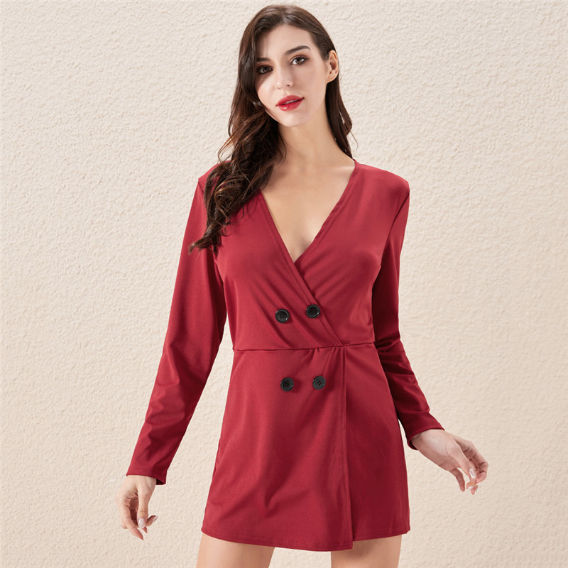 Fashion casual women's solid color V-neck Long sleeved wide-leg pants short jumpsuit sports jumpsuit