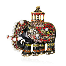Cute Alloy Rhinestone Retro Fine Elephant Animal Brooch Pin for Girl Women Fashion Jewelry Corsage Accessories Wholesale