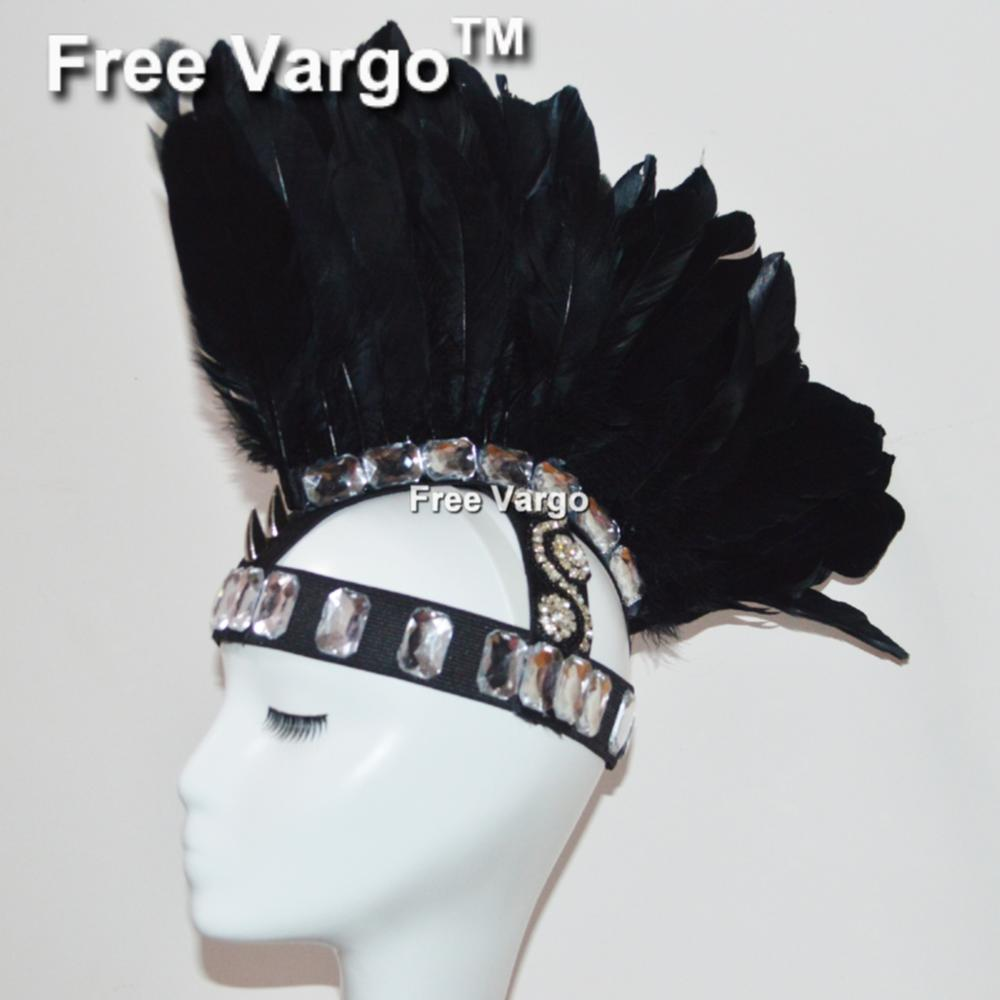 Burning Man Black Feather Head Piece Costume Gogo Samba Dance Headdress Festival Rave Clothes Outfits Gear Halloween Masquerade