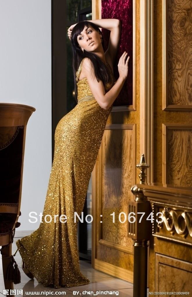 Free Shipping Fashion Long Design Vestido De Festa Gold Formal Elegant Party Evening Gown Celebrity Mother Of The Bride Dresses