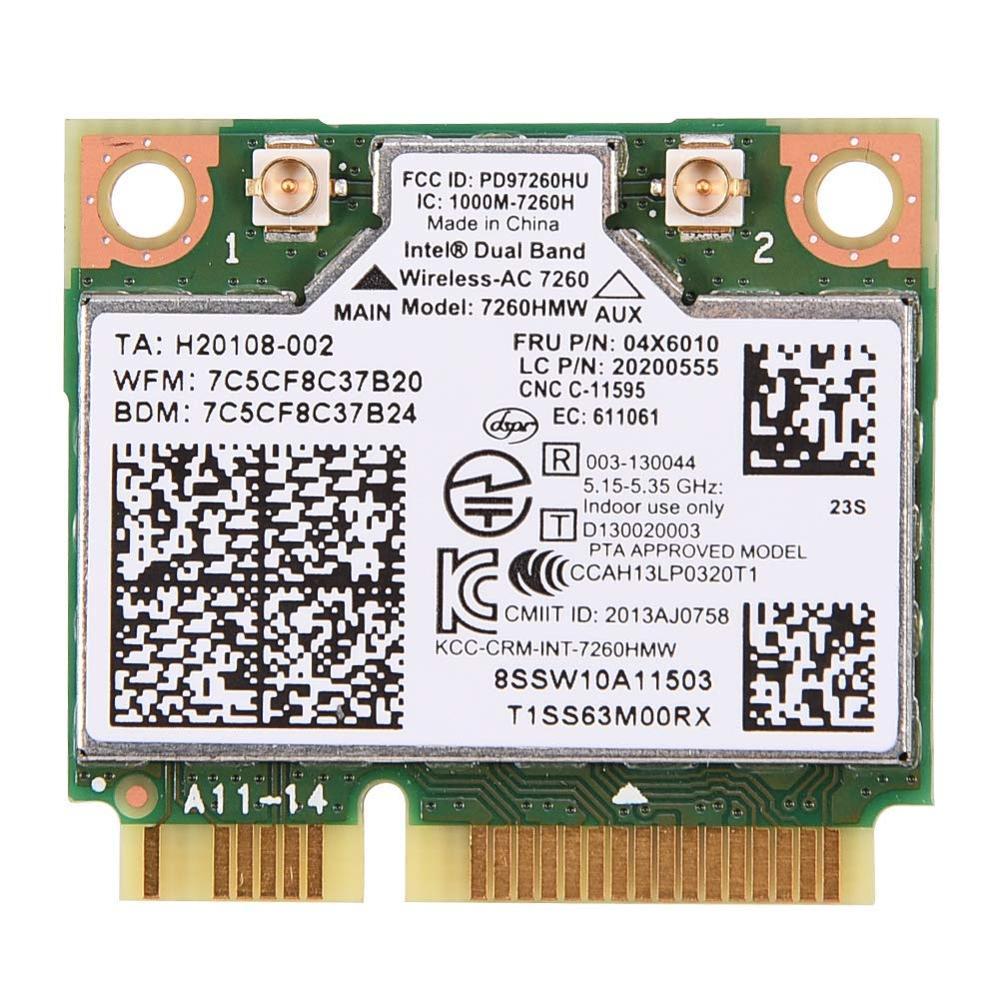 ZEXMTE Intel Dual Band Wireless-AC 7260 WiFi Card 300/867 Mbps 7260HMW Bluetooth 4.0 WLAN 04X6010 600Mbps
