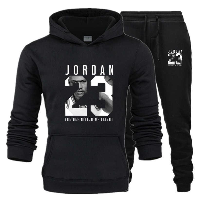 Nowy 2018 marka dres mody JORDAN 23 mężczyźni odzież sportowa dwuczęściowe zestawy bawełna gruby polar z kapturem + spodnie sportowe garnitur mężczyzna 3XL