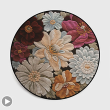 3D Floral Round Carpet Living Room Mandala Area Rug Bedroom Non Slip Chair Cushion Europe Persian Vintage Home Decor Basket Mat persian totem printed home decor antiskid rug