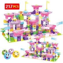 Bolas de laberinto para carreras de canicas para niños, bloques de construcción compatibles con tobogán de ciudad, bloques de gran tamaño, 217 Uds.