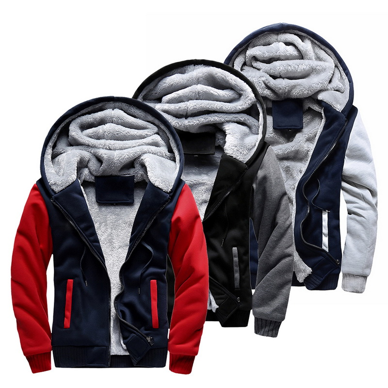 Winter Men's Hoodies Fleece Warm Hood Thick Parka Velvet Windproof Coats Sweatshirts Hoodies Zipper Men Hoodie Jacket