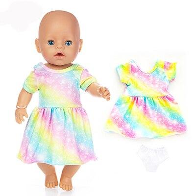 Новое красочное платье, подходит для кукол 17 дюймов 43 см, одежда для новорожденных, аксессуары для кукол, платье для малыша, подарок на день р...