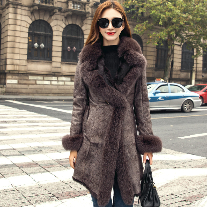 Faced Double Real Fur Coat Female Luxury Natural Rabbit Fur Coat Winter Jacket Women Fox Fur Collar Warm Jackets MY4419 S