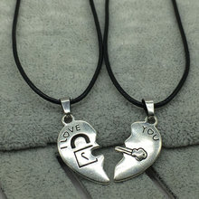 2 PCs/Set Couple Necklace for Women and Men Silver Two Pieces Heart Pendant Paired Fashion Gifts