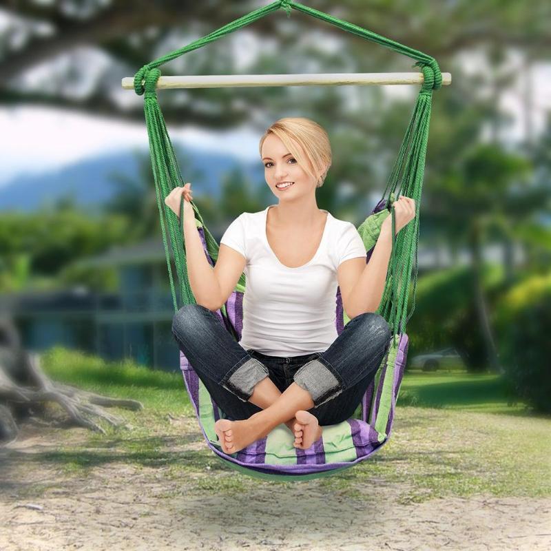 Hamac chaise suspendue chaise balançoire siège avec 2 oreillers pour jardin