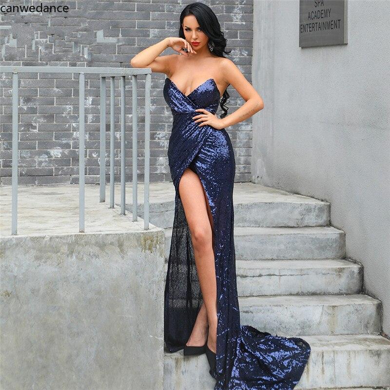 2020 Charming V Neck Strapless Women Dress with High Split Elegant Sleeveless Zipper Back Simple Women Dresses with Train