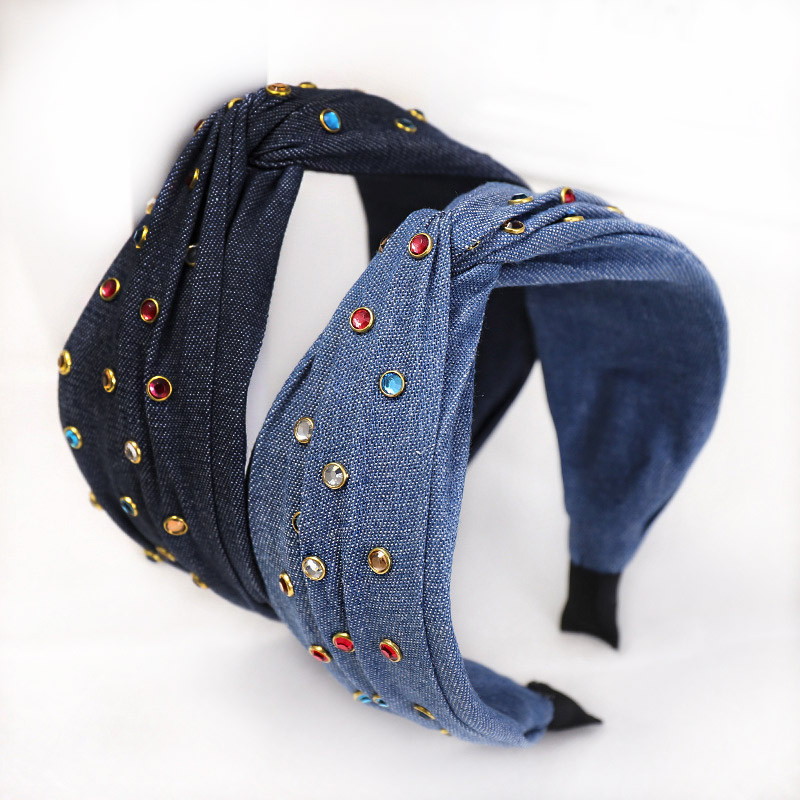 Summer New 2020 Women Colorful Rhinestones Jeans Headbands Denim Ladies Girls Headwrap Hairbands Twist Bow Knot Hair Accessories