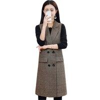 2019 Fashion Plus size Spring Autumn Plaid Suit Vest Women Sleeveless Outerwear Female Double breasted Slim Long Waistcoats 2949