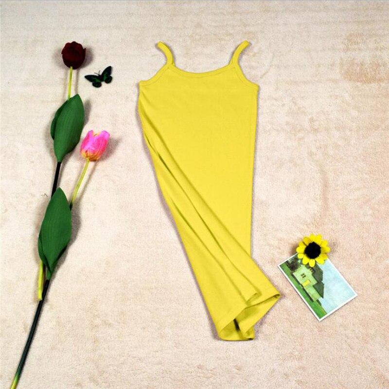 Новинка, Женская эластичная кофточка на бретельках, Длинный топ на бретелях, Мини Короткое платье, летнее повседневное сексуальное платье без рукавов для женщин - Цвет: A-Yellow