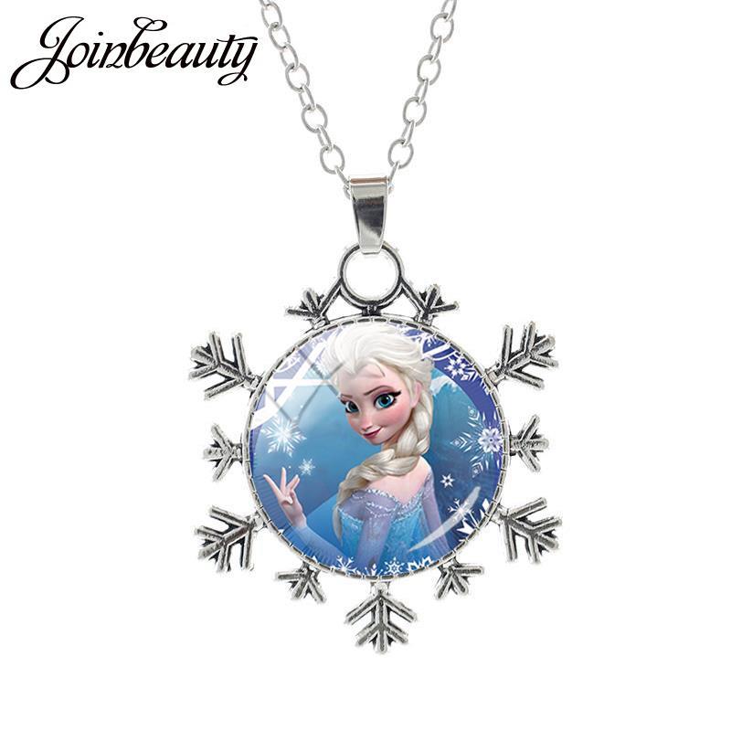 JOINBEAUTY Принцесса Эльза Анна снег кулон в виде королевы Ожерелье Дамы Снежинка Длинная цепочка Ювелирные изделия стекло кабошон для девочек SQ03 - Окраска металла: SQ03-25
