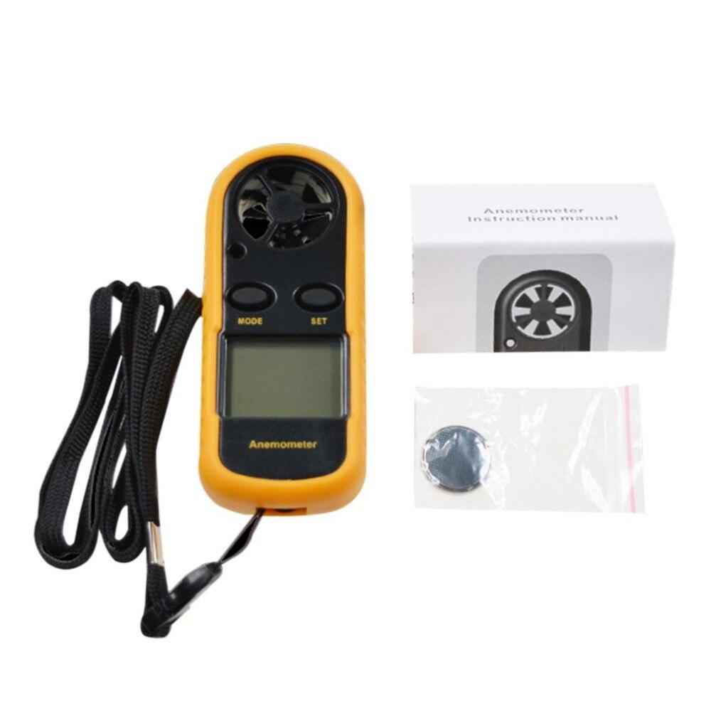 GM816 Mini Digitale tenuto in Mano Anemometro Aria di Velocità del Vento Meter Velocità Display LCD Portatile Termometro Giallo